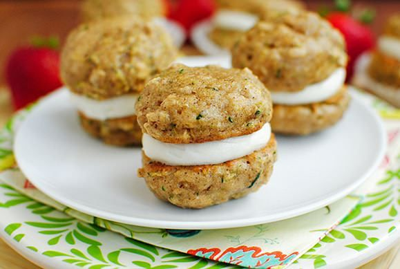 Zucchini Bread Cookie Whoopie Pies are perfectly poppable and a great way to use up a bounty of summer zucchini!
