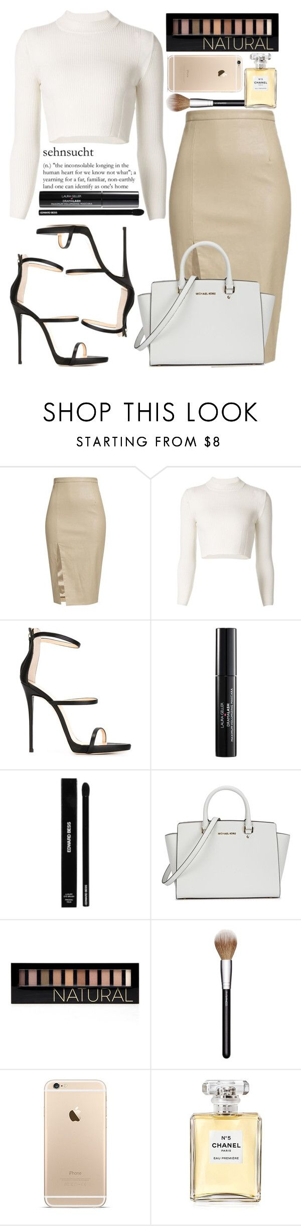 """""""February 10th, 2016"""" by inescanas ❤ liked on Polyvore featuring Maison Margiela, Giuseppe Zanotti, Laura Geller, Edward Bess, Michael Kors, Forever 21, MAC Cosmetics, Chanel, women's clothing and women"""