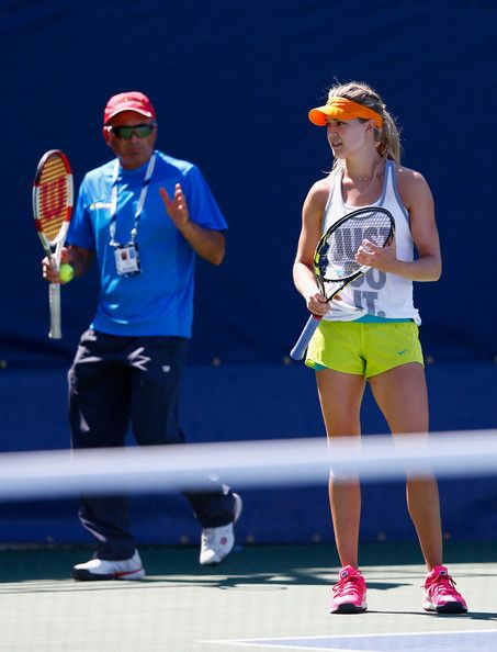 Eugenie Bouchard Eugenie Bouchard of Canada receives help from her coach during previews for the US. US Open: Previews.