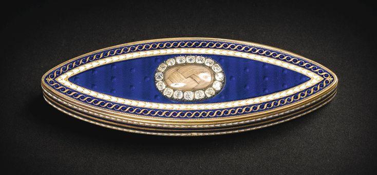 Etui à cure-dents en or, émail et pierres précieuses, James Morisset, 1785. A JEWELLED GOLD AND ENAMEL TOOTHPICK CASE, JAMES MORISSET, LONDON, 1785.