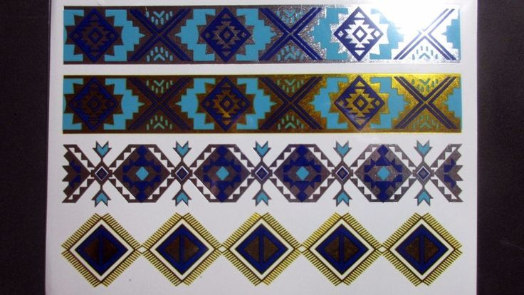 Gold Blue Chains Temporary Henna Tattoos Transfer Silver Arm Tattoo Sticker