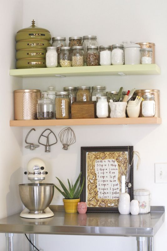 Baking Nook: Kitchen overflowing? Create a baking space with diy shelves, vintage tins, and mason jars for a southern homey feel.