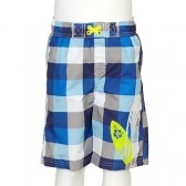 IEXTREME Blue Grey Surfboard Checked Swim Trunk Little Boys Size 12M-7