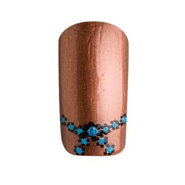 "Step-by-step tutorial on how to create these bronze Western ""Rodeo"" nails with blue flowers."