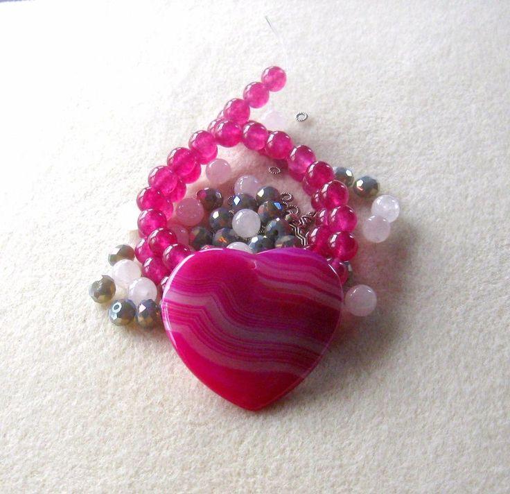 Agate Heart Pendant, Snow Quartz, Glass Beads, Jade Beads, DIY Jewelry Kit