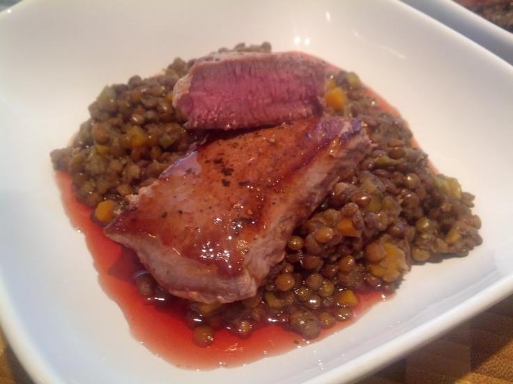 Puy lentils with Lamb Loin Fillets