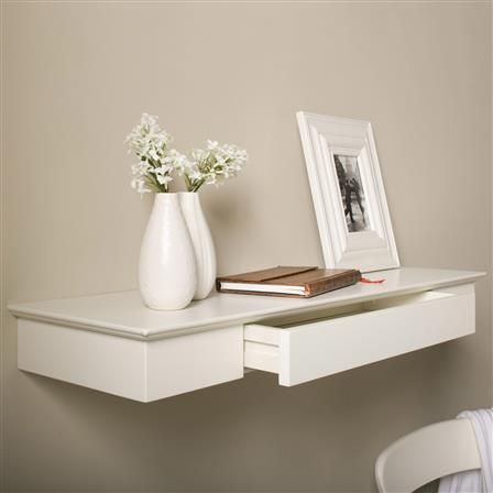 ACHICA | DL XL8 80cm Shelf with Drawer, Lacquered Off White