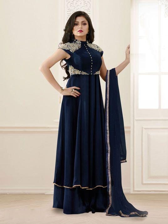 Drashti Dhami Navy Blue Georgette Palazzo suit