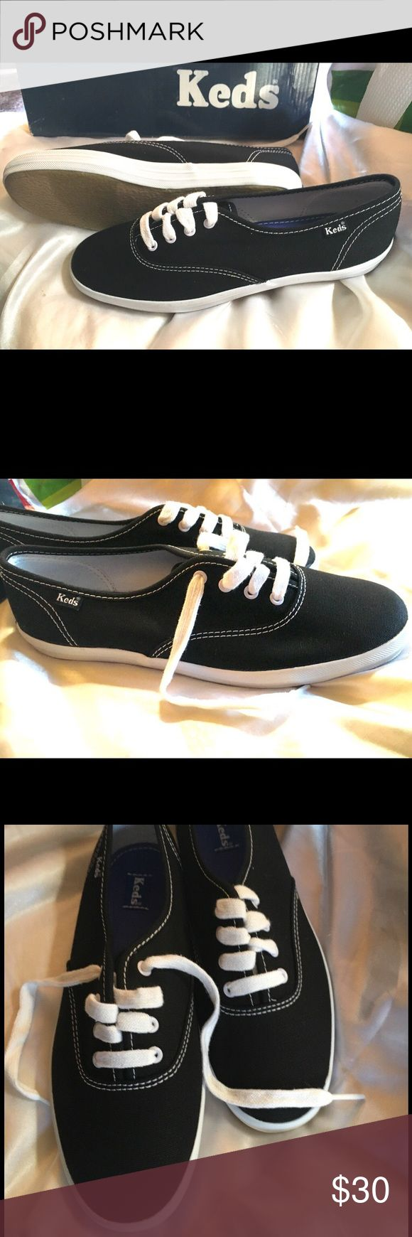 *NEW* Keds champion black lace up New in box. Kids size 4.5 which also = Womens size 6.5 Black canvas Keds Shoes