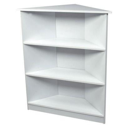 Gift Mark 3 Tier Corner Bookcase White Shelves Corner