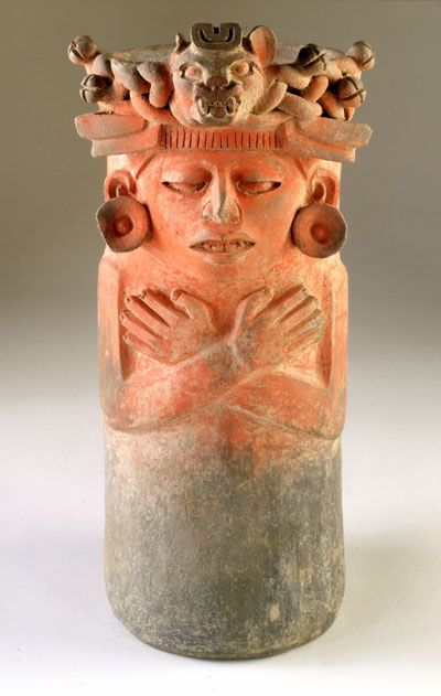 Mesoamerican, Zapotec Mexico (Monte Albán) Urn with Human Figure, 300 B.C. - A.D. 200 Pottery with deposit of vermilion