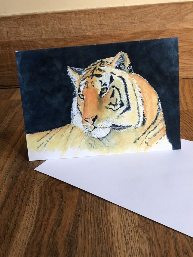 Free Uk Postage A5 Blank Card Of My Original Tiger Watercolour