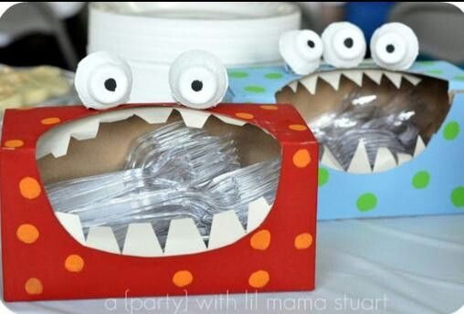Monster party utensil holder - Sooo cute! https://www.facebook.com/OrlandoBirthdayGram