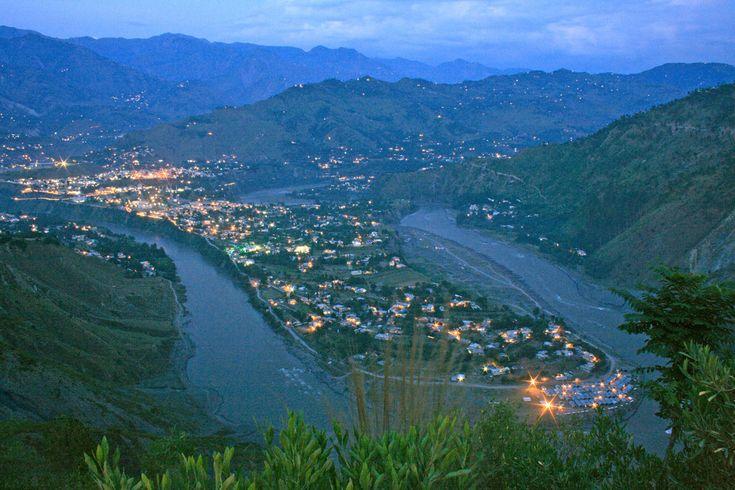 A shot of U-shaped turn of Jhelum River in Chater Area, Muaffarabad AJK.