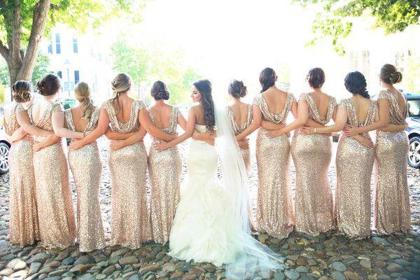 Gold glitter bridesmaid dresses for a black tie wedding  - black tie wedding bridesmaid dress idea - cute bridesmaid photo idea {B.O.B Photography}