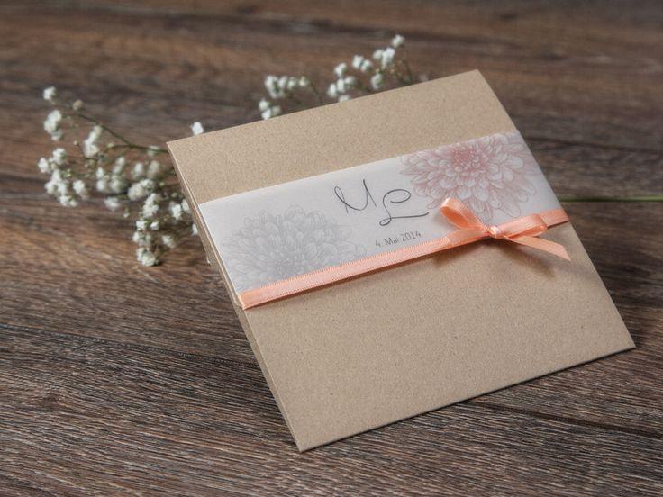 """Pocket-Karte """"Dalia-apricot"""" Hochzeitskarte von *Formatreich-Hochzeitskarten* auf DaWanda.com"""