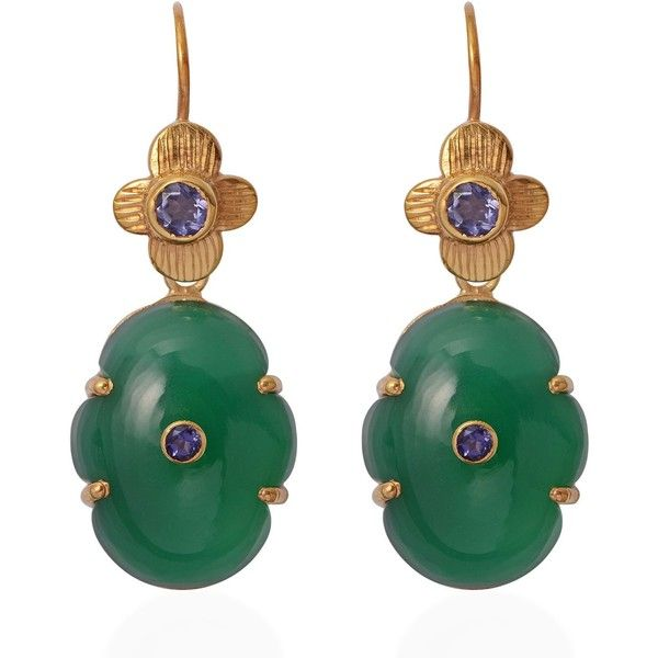 Emma Chapman Jewels - Larissa Green Onyx Iolte Earrings ($310) ❤ liked on Polyvore featuring jewelry, earrings, earring jewelry, green onyx jewelry, engraved earrings, polish jewelry and engraved jewellery