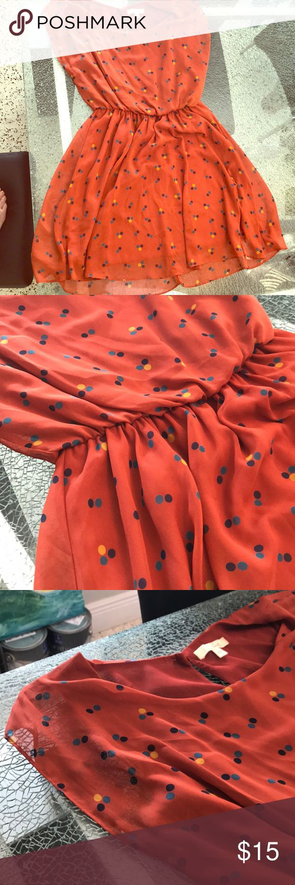 Orange mini dress Orange mini dress with green, blue and yellow polka dots. About 3 inches above the knee. Elastic waste. Sheer short sleeves Lush brand size large Lush Dresses Mini