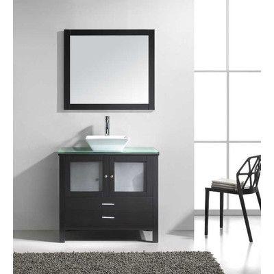 """Virtu Brentford 36"""" Single Bathroom Vanity Set with Glass Top and Mirror"""