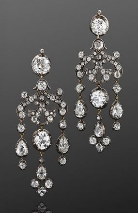 19th Century Old Mine Diamond Chandelier Earrings, an intricate scrollwork suspends a total of approximately 19.60 carats of old mine diamonds set in silver top yellow gold