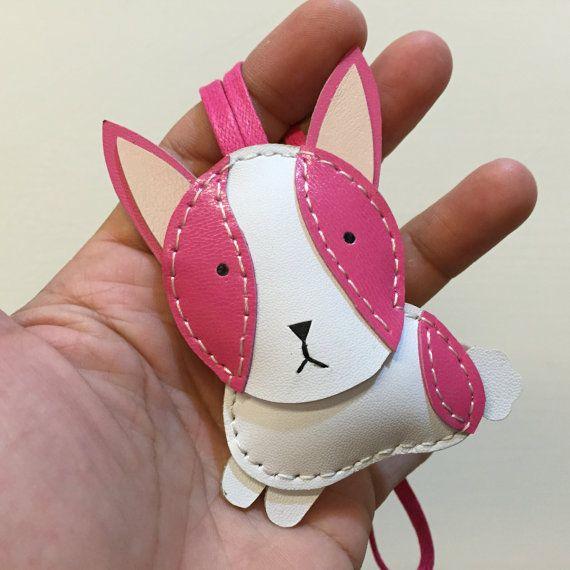 Small size  KiKi the Rabbit cowhide leather charm por leatherprince