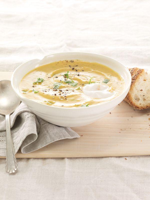 Delicious Lentil Soup made with Plain Chobani Greek Yogurt.