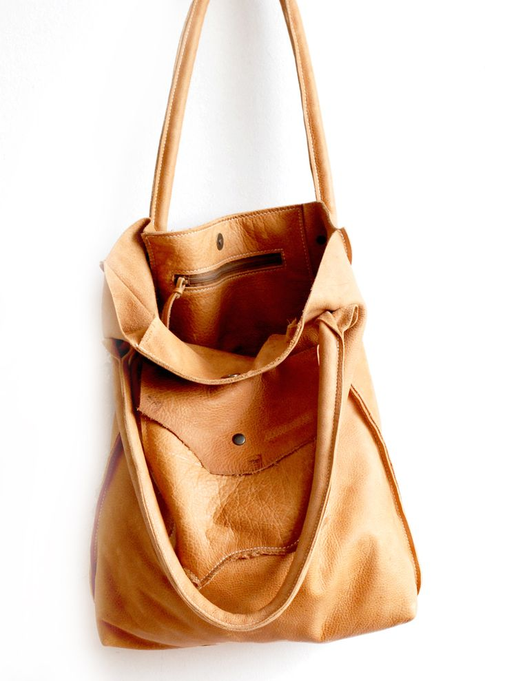 Leather Hobo vintage style leather in honey color. Simple yet striking  design through organic shaped