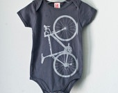 Vital bicycle - Infant one piece, gray bike, size 6-12 mo. $18.00, via Etsy.