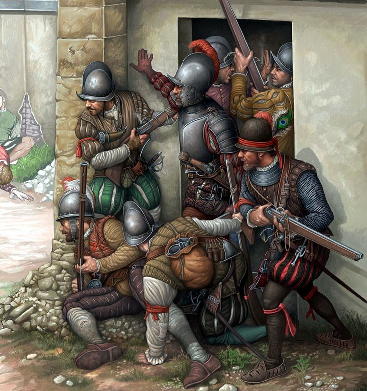 1557 Battle of Saint Quentin. Spanish arquebusiers in street fighting in the suburbs of the town.