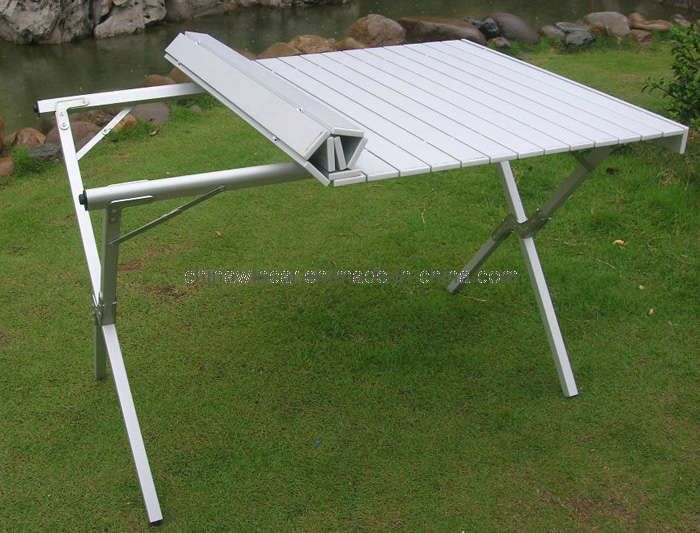 Table Folding Aluminum Portable Bench Roll up Picnic Beach Table ...