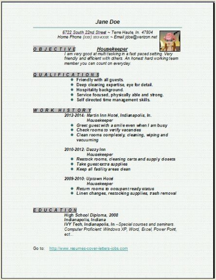 resume examples for housekeeping at a hotel
