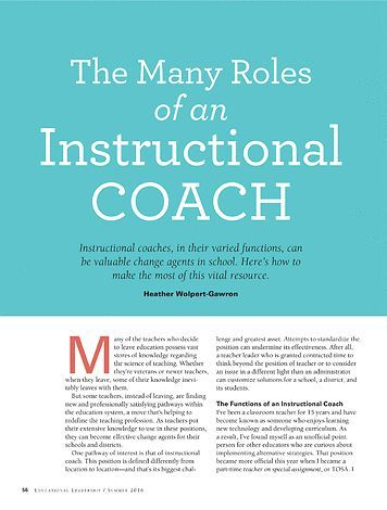 The Many Roles of an Instructional Coach - Educational Leadership. Summer Free 2016