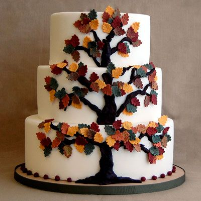 The centerpiece of this traditional white cake is a folk art-inspired tree.