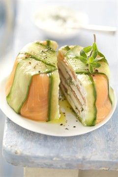SMOKED SALMON, GOAT CHEESE & CUCUMBER TERRINE [cuisine.larousse]
