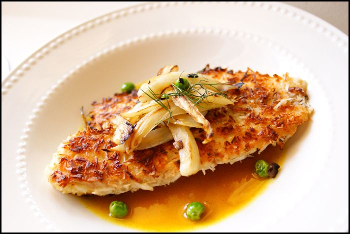 Coconut Crusted Tilapia with Pineapple/Curry Sauce by forksandsporks #Tilapia #Pineapple #Curry