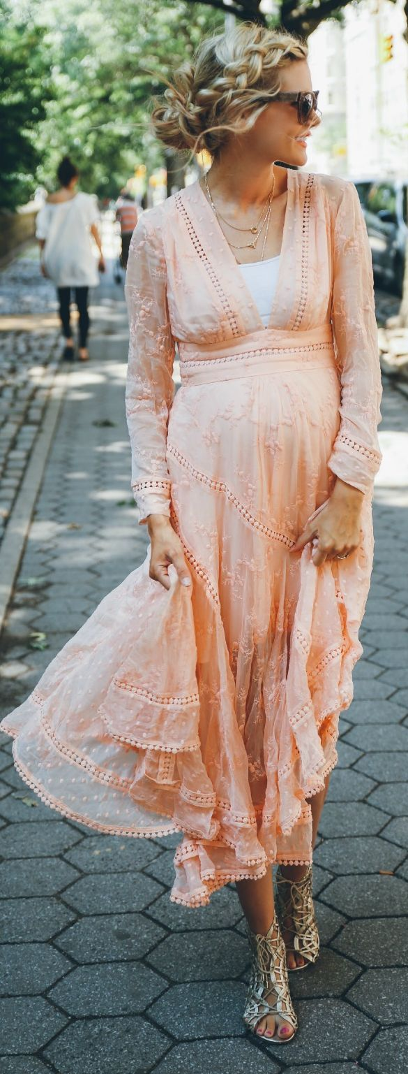 Peachy Embroidered Maxi Dress                                                                             Source