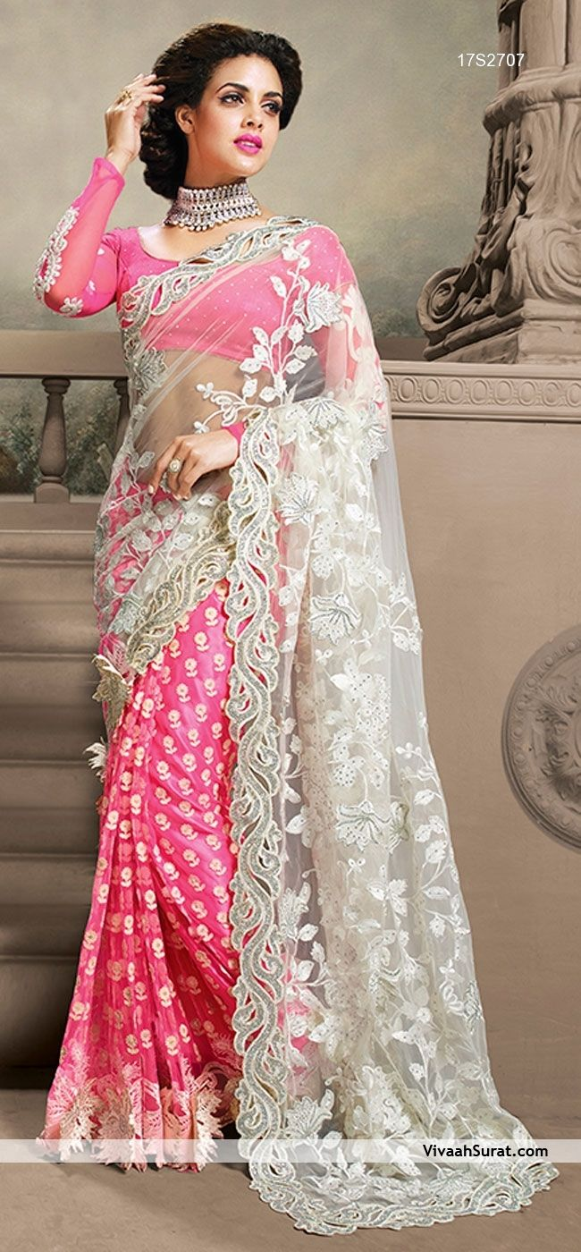 SHOP THIS FROM HERE: http://www.vivaahsurat.com/sarees/charm-magenta-off-white-net-wedding-saree-17s2707