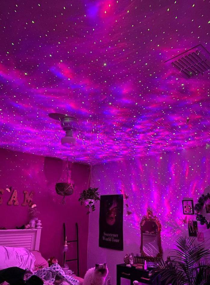 Room Decor Bedroom Inspiration Aesthetics Pink Instagram Pinterest Tiktok Vibes Style Fashion Led Lights Skylight S In 2020 Galaxy Lights Neon Room Star Lights Bedroom