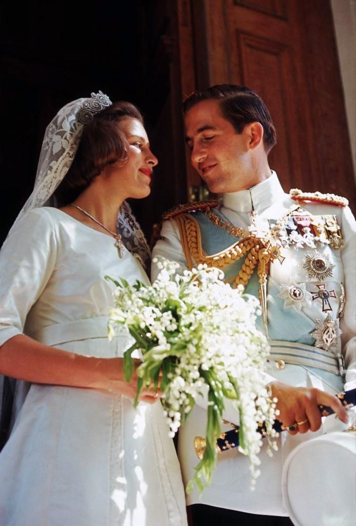 King Constantine II of Greece and Princess Anne-Marie of Denmark at their wedding 18 Sept. 1964
