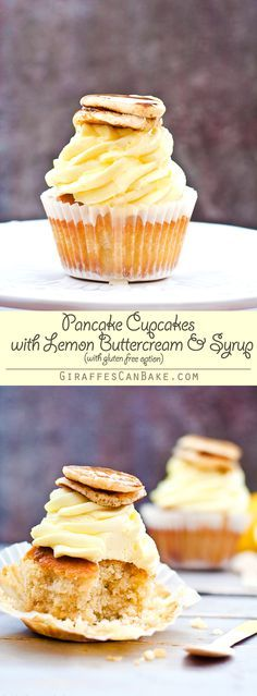 Pancake Cupcakes with Lemon Buttercream Frosting and Syrup - British style pancakes, but not as you know them! Fluffy pancake batter baked into cupcake form, topped with mini pancakes, zesty lemon buttercream frosting and a thick lemon sugar syrup. A new and delicious way to enjoy pancakes this Pancake Day! #ad