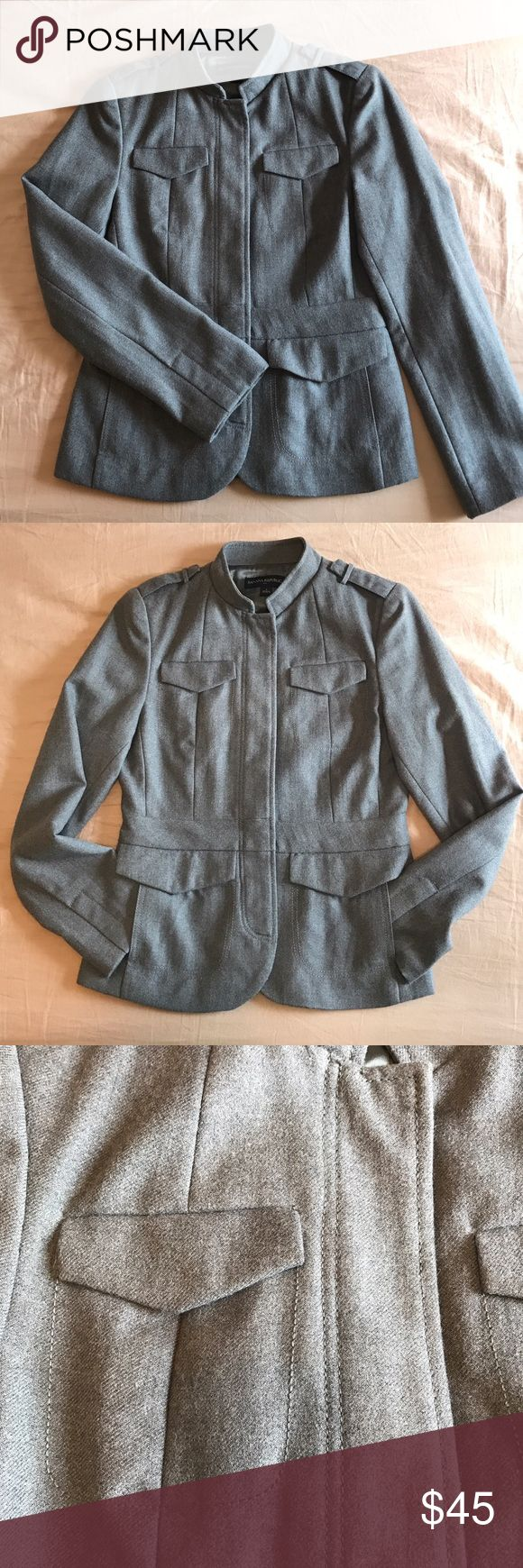 Banana Republic Wool Blend Jacket This is a really chic grey/gray Banana Republic Wool Blend Jacket. This jacket has 2 front pockets, button front, full lining, & beautiful stitching. It is in excellent used condition, like new. Banana Republic Jackets & Coats