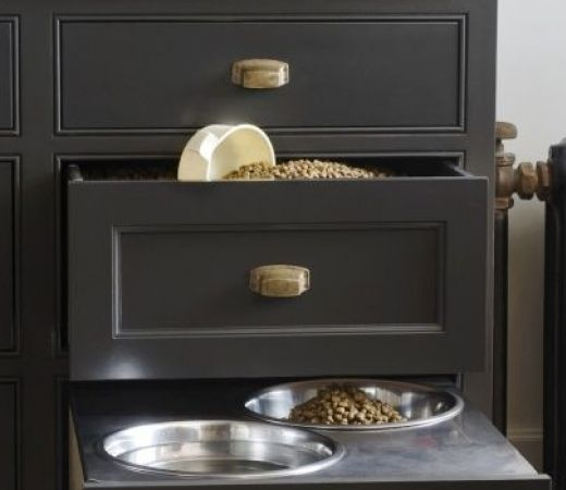 A clever way to hide your pet's bowls.