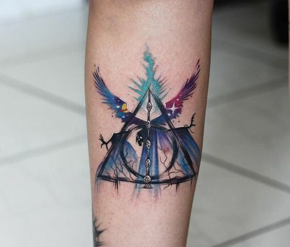 Colored Harry Potter Tattoo | J.K Rowling Fan's Tattoo | Deathly Hallows Sym…