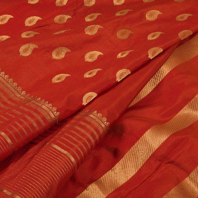 Handwoven Reddish Orange Kanjivaram Soft Silk Saree With Partly Pallu & Paisley ... 3