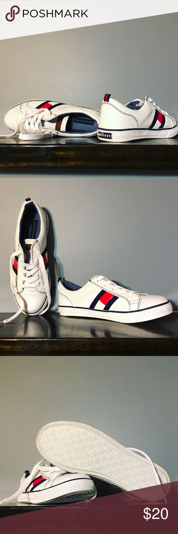 Tommy Hilfiger Shoes Great condition tennis shoes by Tommy Hilfiger. Classic TH style white with red and navy blue logo. Tommy Hilfiger Shoes Sneakers