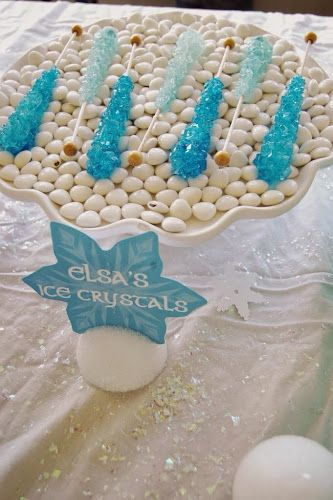 Elsa's Ice Crystals, Frozen Birthday party: food label holder is a styrofoam ball cut in half