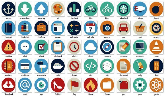 Beautiful Flat Icons, 132 iconos planos gratuitos en varios formatos