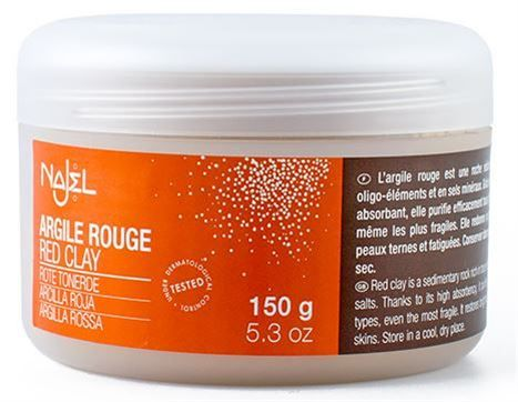 Najel Σκόνη Κόκκινου Αργίλου (Red Clay Powder) 150gr    Οκόκκινος Άργιλοςείναι ιδανικός για βαθύ καθαρισμό της επιδερμίδας καθώς είναι πλούσιος σε ιχνοστοιχεία και μεταλλικά άλατα.  Καταπραϋνει ιδιαίτερα ξηρές & ευαίσθητες επιδερμίδες!   WWW.ORGANICBRANDS.GR