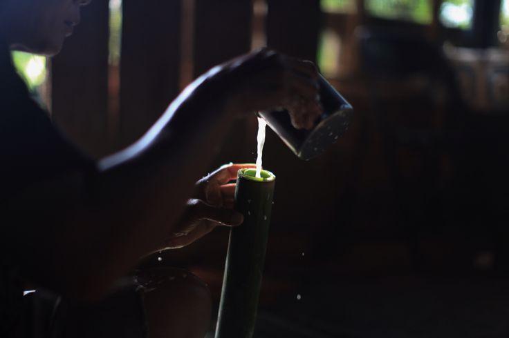 Membuat Nasi Bambu untuk Idul Fitri