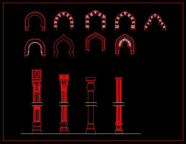 This is a 2d cad template for islamic architecture for 2d architectural drawing software free